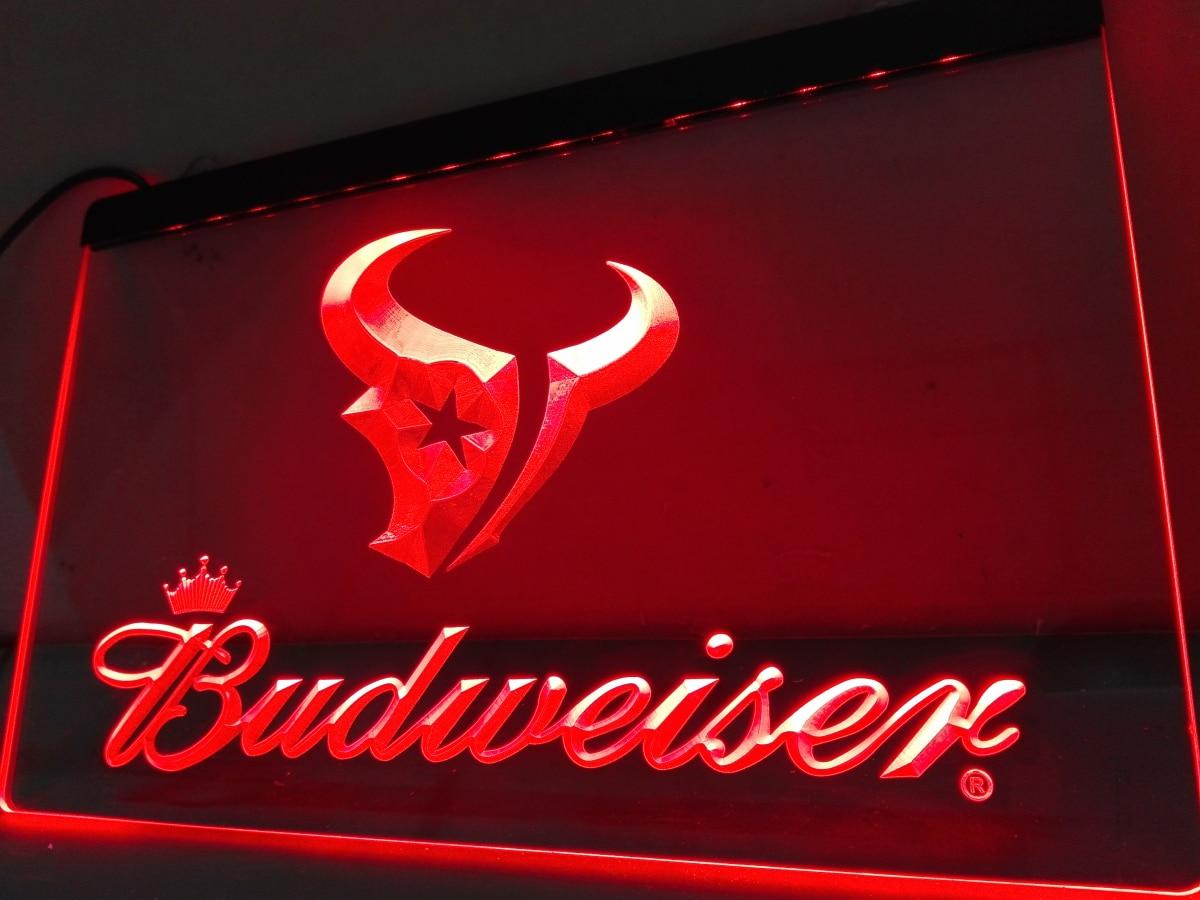 Houston Texans Man Cave Accessories : Ld houston texans budweiser bar nr led neon light sign