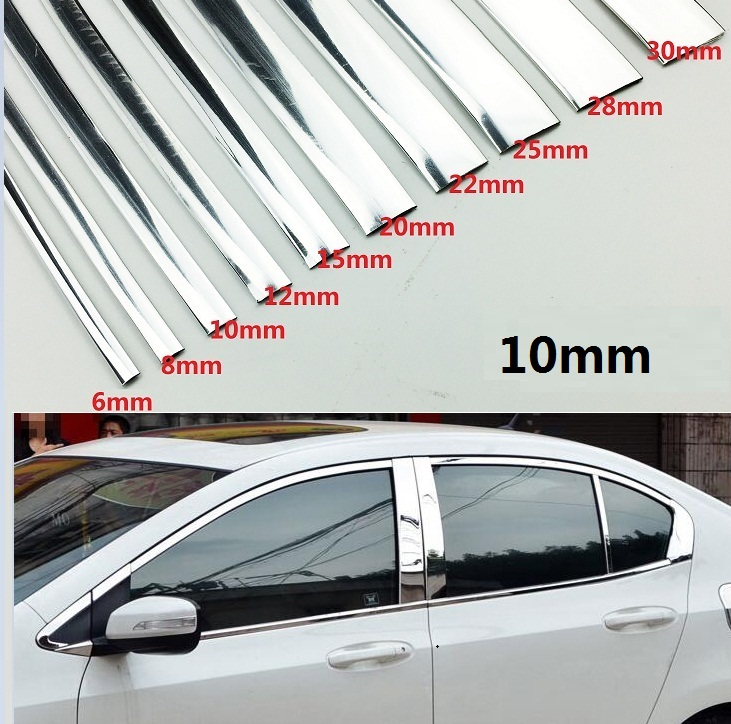 Car Styling Width 10MM Chrome Trim Styling Car Sticker Molding Strip Exterior Interior Decoration  1M /2M /3M /5M /10M/15M