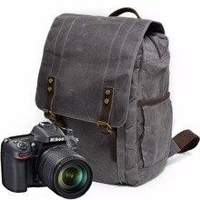 Фотография Waterproof Canvas Leather Backpacks Men Travel Mochila School Backpack Photography Package Bolso Male Sac Bag Laptop Camera Bags