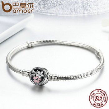 BAMOER Authentic 925 Sterling Silver Poetic Daisy Cherry Blossom Mixed Enamels & Clear CZ Snake Chain Bracelet Jewelry PAS919 1