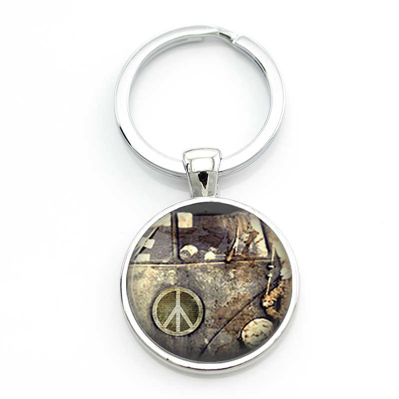 TAFREE new vintage Hippie Peace Sign Van Bus keychain fashion men women purse bag car pendant key chain ring holder jewelry CT91