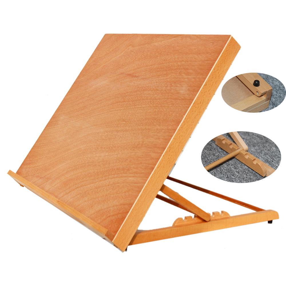 Folding Table Easel Portable Artist Wood Easels Adjustable Sketch 5-Position Drawing
