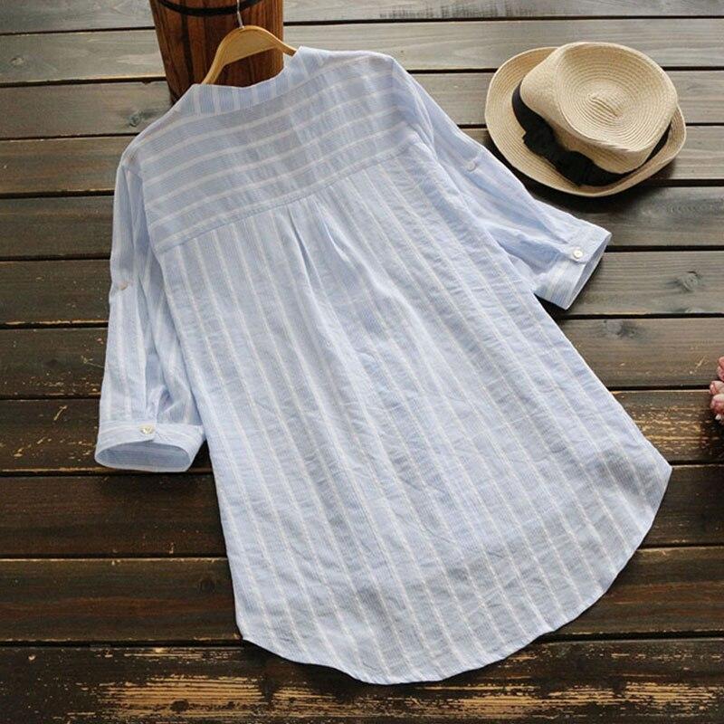 Летние Повседневное сладкий сине-белые Рубашка в полоску Женская одежда Половина рукавами v-образным вырезом Хлопок Лен Мори Блузка для дев...
