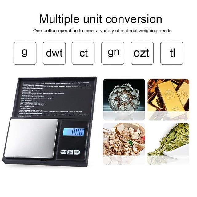 Urijk 1Pcs Precise Digital Scale 100/200/300/500/1000g 0.01/0.1g LCD Display Pocket Gram Weight 3