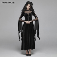 PUNK RAVE Women's Gothic Double Layer Sleeve Velvet Gorgeous Victorian Halloween Hollow Sexy Lace Black Party Club Dresses