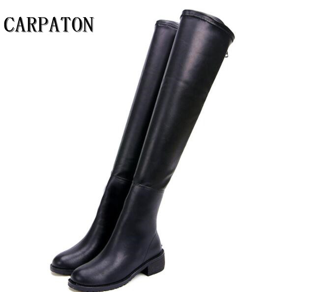 Hot selling over the knee long boots woman thick heels thigh high boots 2018 Autumn round toe riding boots back zipper boots