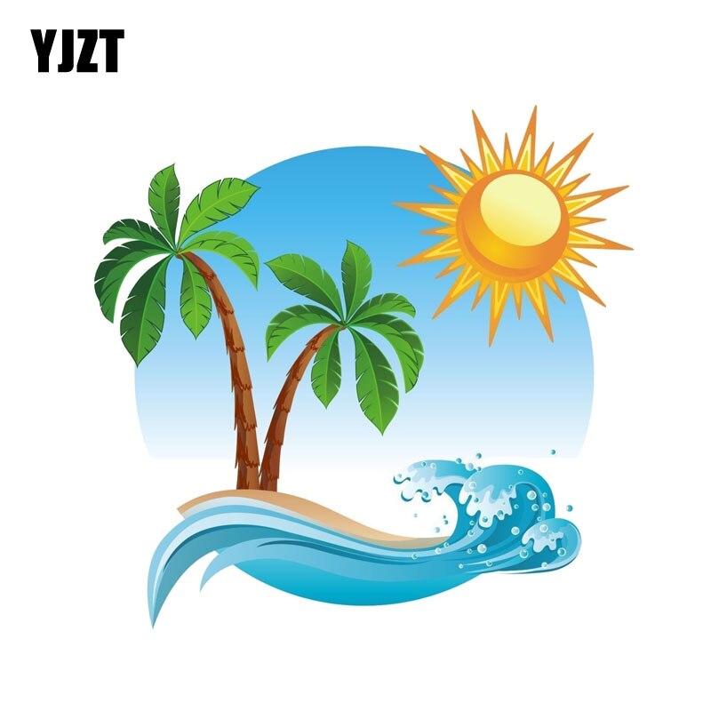YJZT 15.2CM*14.8CM Palm Tree Tropical Island Car Sticker Funny Decal PVC 12-0541