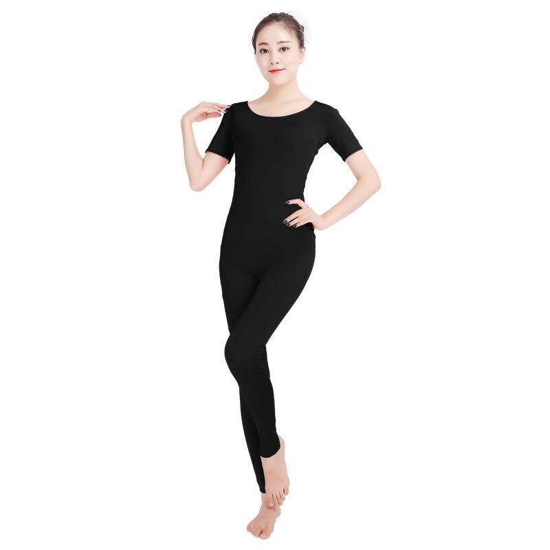 Ensnovo Women Ballet Jumpsuits Short Sleeve Gymnastics
