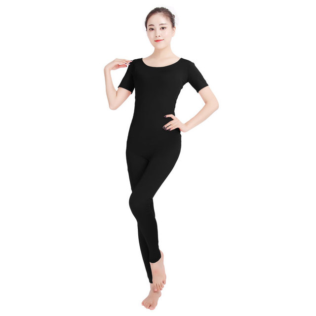 Ensnovo Women Ballet Jumpsuits Short Sleeve Gymnastics Yoga Leotard Unitard  Costume Lycra Nylon Spandex Black Dancewear Bodysuit 953b7b304020