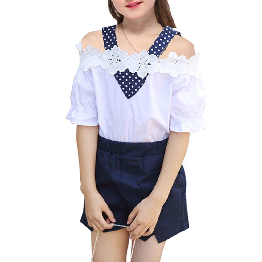 Комплекты для девочек новые летние детские дети мода Shoulderless футболка + короткие штаны 2 шт. комплекты одежды для девочек милые наряды на 6, 8, 10...