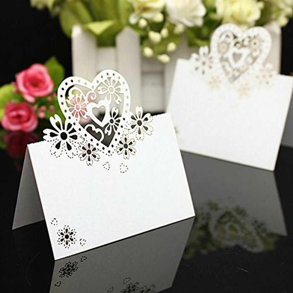 50pcs/lot Love Heart Laser Cut Wedding Party Table Wine Food Guest ...