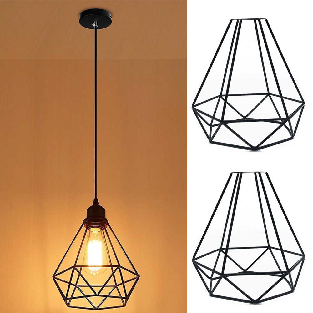 1Pc Vintage Iron Bulb Guard Clamp Lamp Cage Hanging Lampshade Ceiling Pendant Cage Lampshade Home Cafe Shop DIY Light Cover