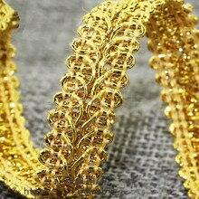 Tela de línea dorada y plateada de 1,3 cm de ancho, ciempiés, ropa de encaje, Textiles con borde curvado, correas para coser, 10 yardas/lote