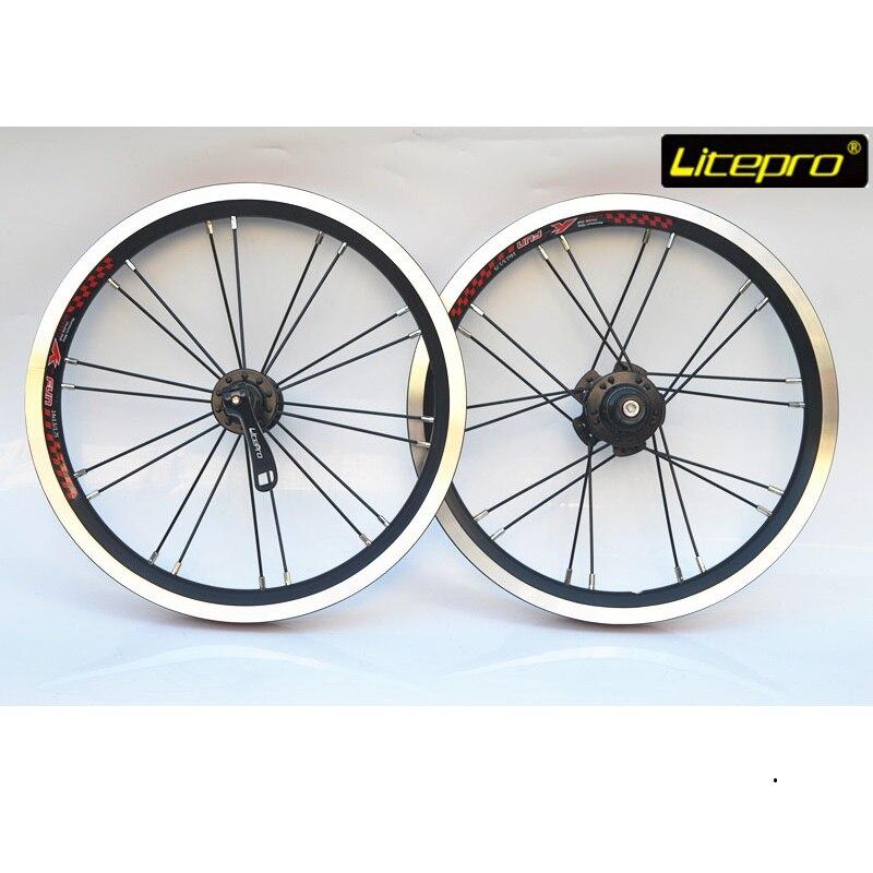 Litepro Folding Bike 14 Inch 412 Wheel Set Single Speed Wheel Double Wall Aluminum Alloy 20