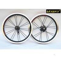 Litepro 접는 자전거 14 인치 412 휠 세트 단일 속도 휠 이중 벽 알루미늄 합금 20 구멍 접는 자전거 부품