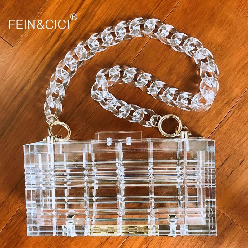 Clear acrylic party clutch Purse women transparent plastic box bag vintage retro party handbag 2019 new