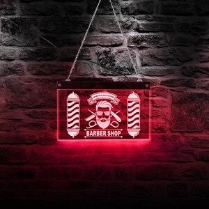 Парикмахерская светодиодный неоновый знак Парикмахерская Полюс Стайлинг Логотип стрижки и карнизы акриловый подвесной декоративный свет...