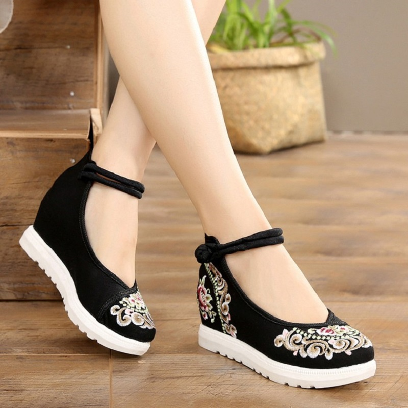 Autumn Shoes Wedges-Heels Spring Canvas Embroiders China-Style Vintage Women Ankle-Strap