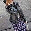 Высокое качество кожаная куртка женщин 2016 новых осень женская кожаная куртка мода марка дизайнер повседневная кожаная куртка мотоцикла