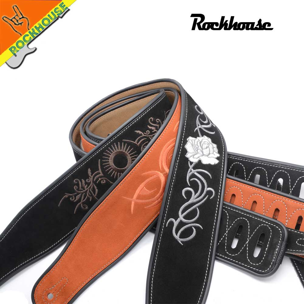 Double Frosted Leather Electric Guitar Strap Bass Straps Chinese Embroidery Picture Anti-crease super soft durable Free shipping classical genuine leather bass guitar belt strap electric bass strap length adjustable guitar belt strap with super handcraft