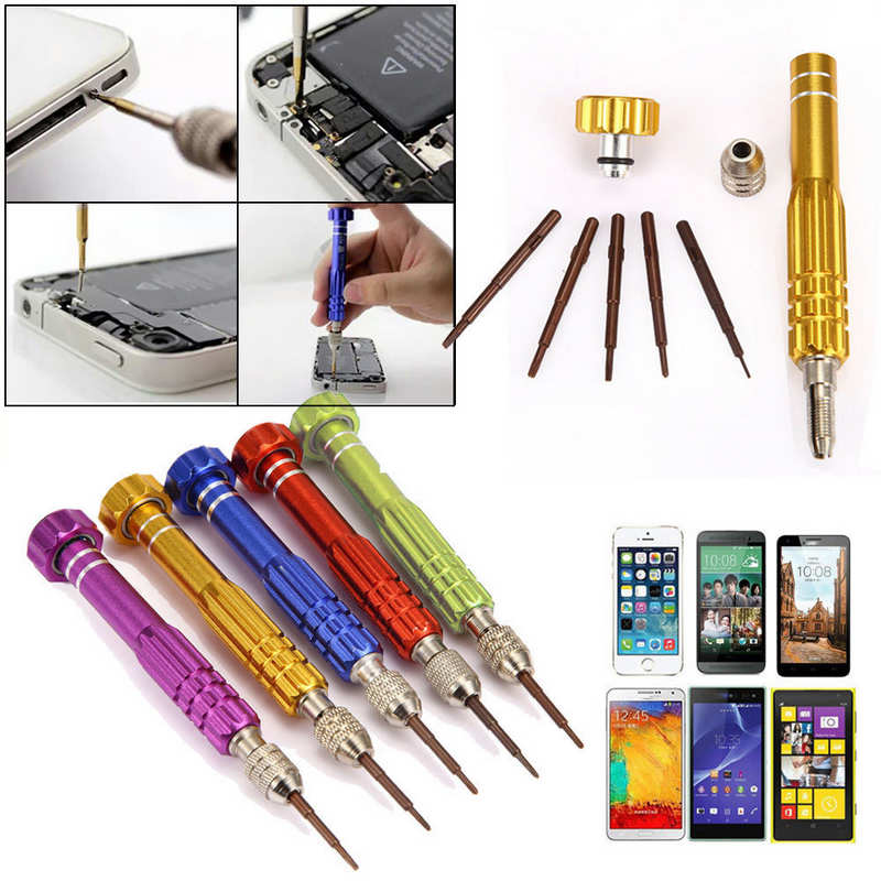 Mayitr Professional 5 in 1 Alloy + S2 Steel Screwdriver Set Repair Tools Opening Kit For iPhone Samsung Anroid Phone Accessory