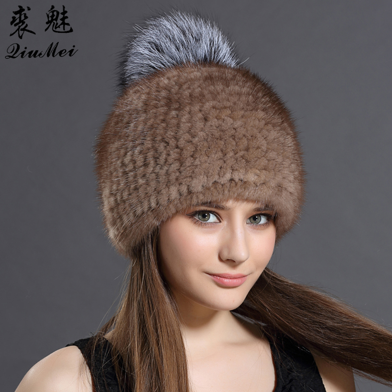 Women Hat For Winter Beanies Real Mink fur Cap Ladies Silver Fox ball Hats For Woman