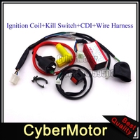 Racing Ignition Coil 5 Pin AC CDI Wiring Loom Harness Kill Switch For Chinese Pit Dirt Bike Motorcycle 50cc 90 110 125 150 160cc