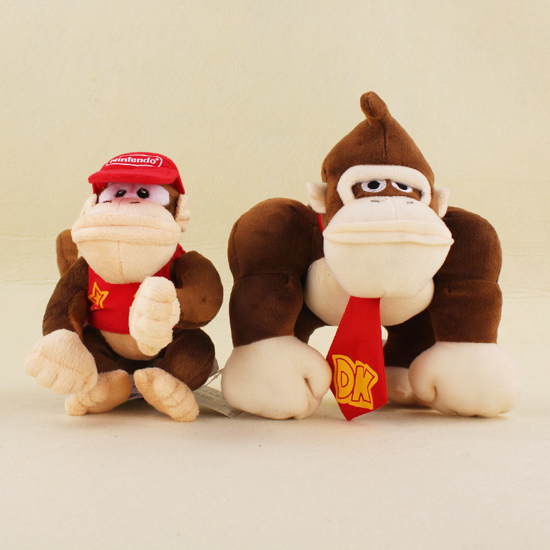 цена 14cm 20cm Super Mario Bros Monkey Donkey Kong Diddy Kong Soft Stuffed Plush Toys Kids Gifts онлайн в 2017 году