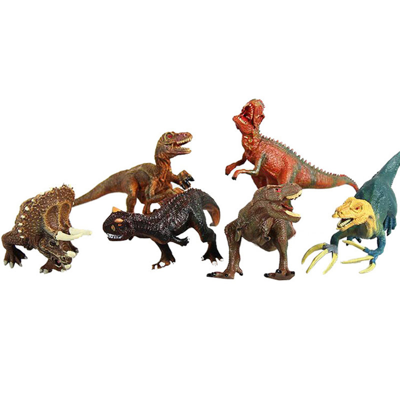 New 6pcs Jurassic model child simulation static plastic solid dinosaur toy animal Tyrannosaurus suit Gifts for children 37 cm tyrannosaurus rex with platform dinosaur mouth can open and close classic toys for boys animal model without retail box