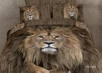 3D Lion animal print bedding set queen size quilt duvet covers bed in a bag sheets bedspreads bedsheet bedroom linen 100% cotton