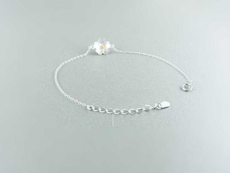 AKOLION Silver Cherry Blossoms Bracelets Charm Flower Bracelets 925 Sterling Jewelry For Girl Women 12