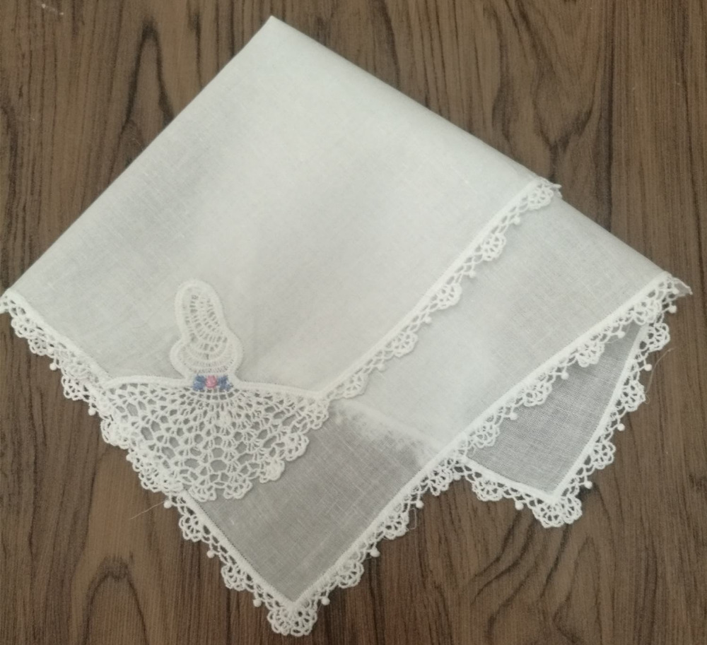 12PCS/Lot Fashion Women Handkerchiefs 11.5x11.5White Cotton Wedding Handkerchief Embroidery Lace Edgings Hankies Hanky For Bride