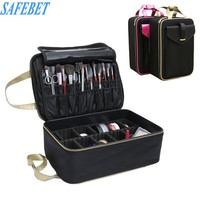 SAFEBET Brand Makeup Organizer Bag Large Multi-storey Professional Beautician Cosmetic Storage Bag Travel Portable Make up Case