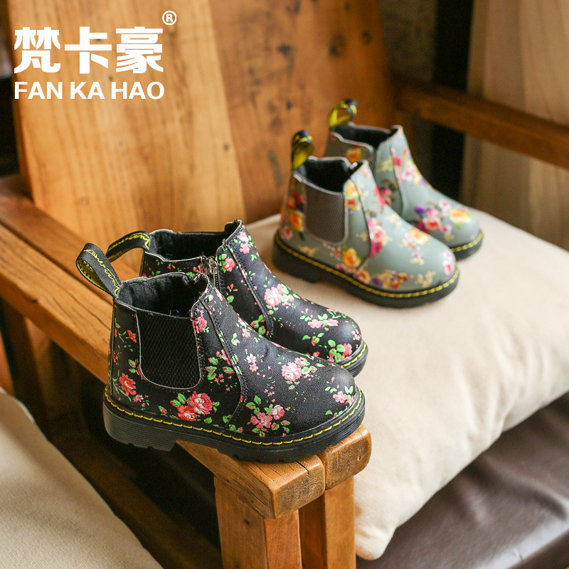 2017 New Children Small Flower Girls Winter Boots Fashion Martin Boots Kids Snow Boots Toddler Shoes