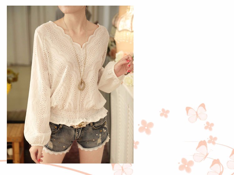 Blusas Femininas 2016 Spring Autumn Women Fashion Plus Size Hollow out Lace Blouse Long Sleeve Sexy Loose White Tops Shirt A602 d