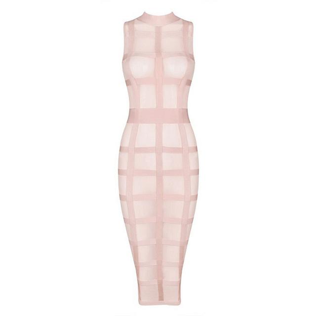 New Fashion Mesh Plaid Off Shoulder Bandage Dress Sexy Mid Calf Pink Dresses Celebrity Party Club Vestidos HL Free Shipping
