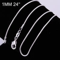 Free Shipping 925 Sterling Silver Single Chain 1MM Snake Chain16 24 925 Sterling Silver Wholesale Fashion
