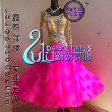 תחרות ריקודים סלוניים גברת חי ירוק sparkle שמלת תקן אולם נשפים המודרניים טנגו ואלס מותאם אישית של סגנון חדש