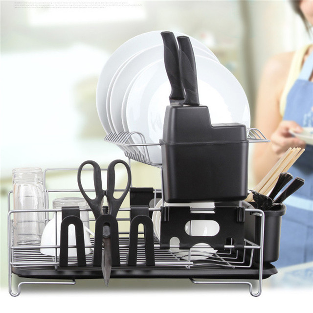 Kitchen Dish Rack Drainer Knife Slots Plate Bowl Spoon Cup Cutlery Drying Tray Stands Organizer Holder