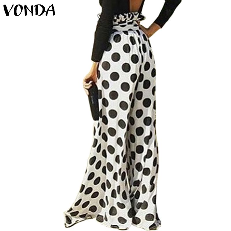 2019 Autumn VONDA Women Pantalon Dot Print Long Loose   Pants   Elastic Waist   Wide     Leg     Pant   Streetwear Casual Office Trousers Plus