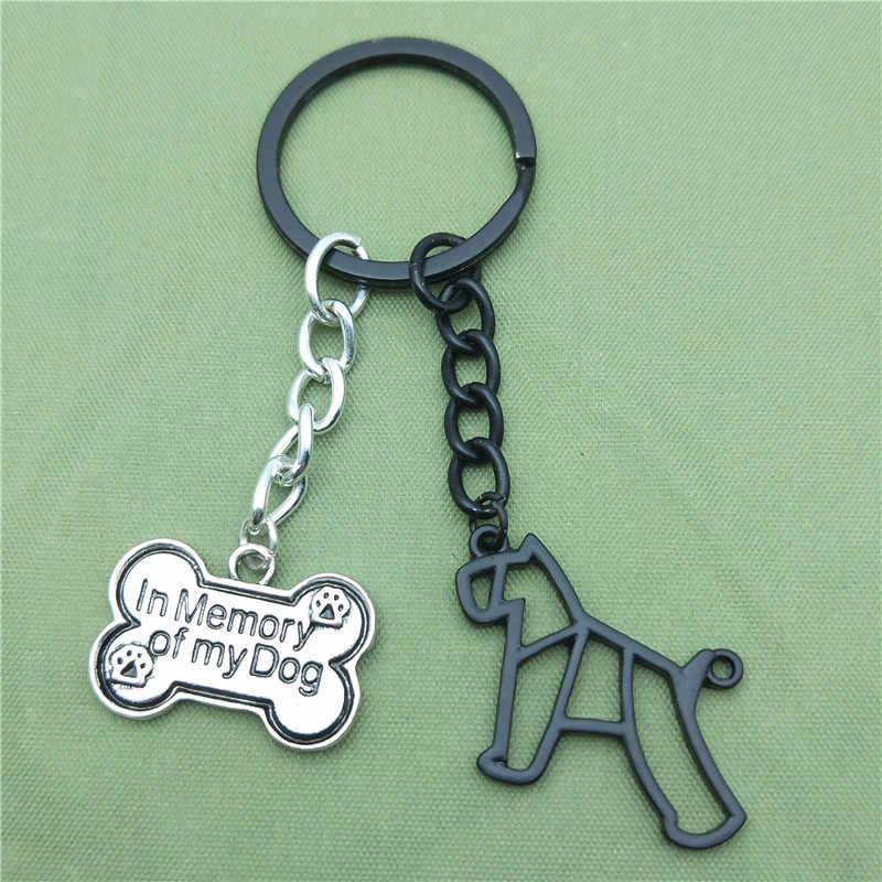 Thu Nhỏ mới Schnauzer Key Chains Thời Trang Geometric Đồ Trang Sức Miniature Schnauzer Xe Keychain Bag Keyring Cho Phụ Nữ Người Đàn Ông