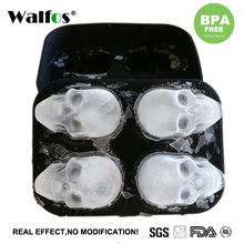 WALFOS Sale 1PC Hot Large Ice Cube Tray Pudding Mold 3D Skull Silicone 4-Cavity DIY Maker Household Use