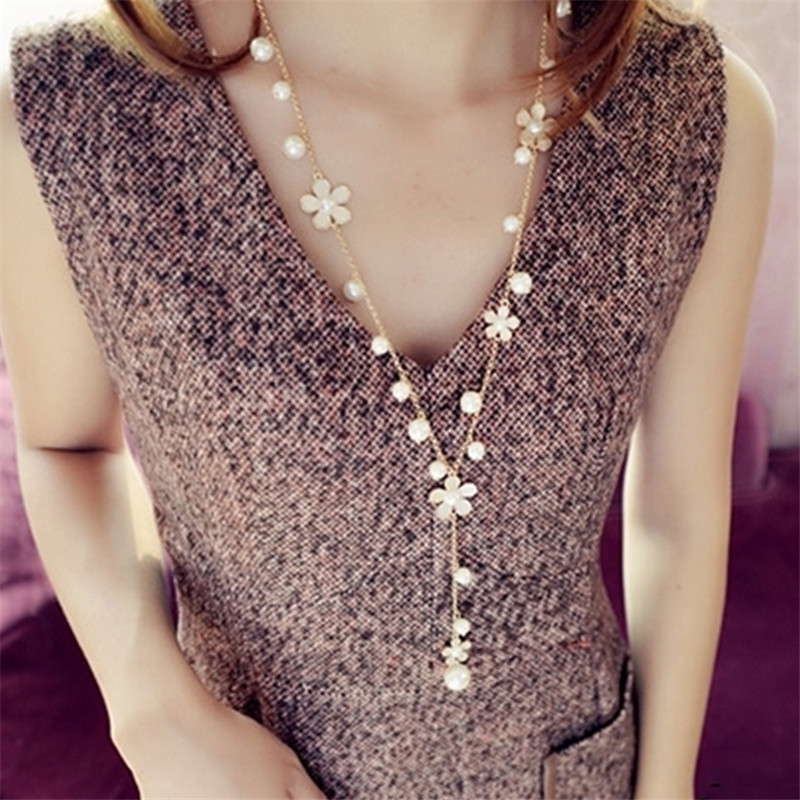LNRRABC Women Sweater Necklaces Girl Elegant New Simulated P