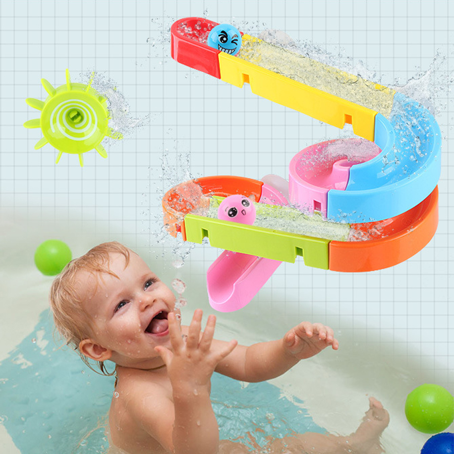 Baby Bath Track Toys Water Games Marble Run Race Maze Suction Cup Orbits Bathroom Toys Children Assembling Track Slides Blocks