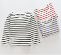 2017 S Stripe Kids Girl t-shirts Baby Long Sleeve Boys Tees Cotton Girls tshirts for Girl Child Kids t Shirts 3-14T