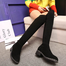 ZJVI Stretch soft genuine leather thigh high boots women knee high boots 2018 suede autumn winter woman chains shoes ladies boot