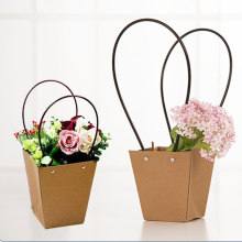 1pc Kraft Paper Gift Bag Trapezoidal / Square Bag Green Plant / Flowers / Meat Plant Bag 7A2251(China)