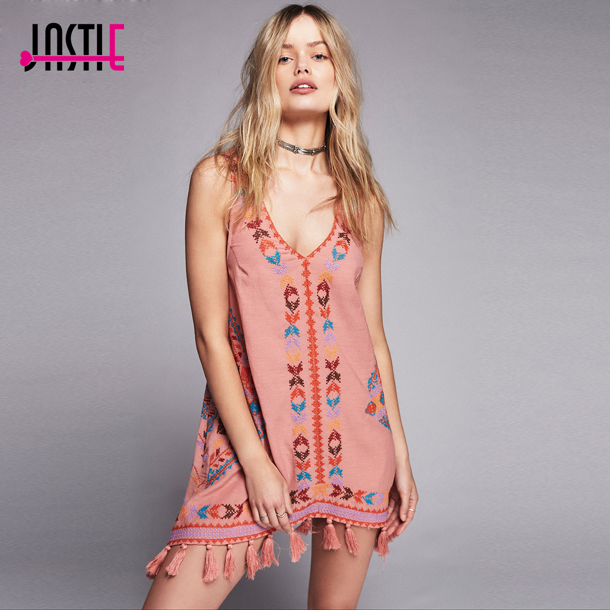 d080721d130e Jastie Vintage Embroidered Gaia Slip Women Mini Dress Tassels Hem Boho Dress  Shapeless Silhouette V-Neck Summer Dress Vestidos