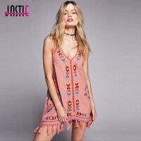 Jastie Vintage Embroidered Gaia Slip Women Mini Dress Tassels Hem Boho Dress Shapeless Silhouette V Neck Summer Dress Vestidos