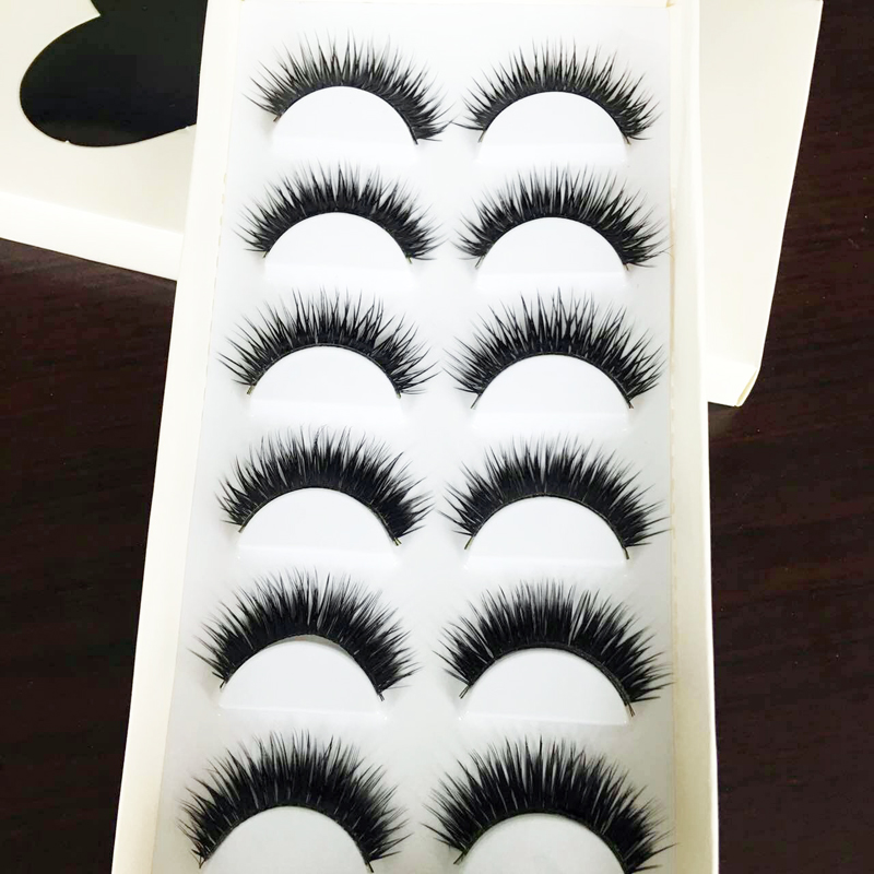 6Pairs Of Women Ladies Makeup Thick False Eyelashes Eye Lashes Long Black Nautral Handmade Eyelash Extension Makeup Beauty Tools